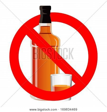 Bottle of spirit drink and stemware in no alcohol allowed sign. No drinking sign prohibiting alcohol beverages. Ban wine and drink prohibition sign icon illustration. No binge icon stop alcohol vector