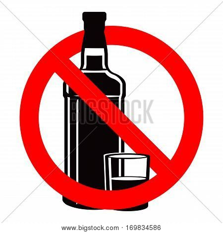 Bottle of spirit drink silhouette and stemware in no alcohol allowed sign. No drinking sign prohibiting alcohol beverages. Ban wine and drink prohibition sign icon illustration. No binge icon stop alcohol vector