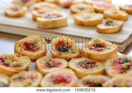 Light And Delicious Bruschetta Appetizers With Tomato And Oregano