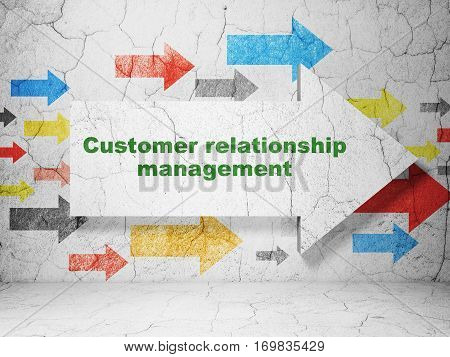 Advertising concept:  arrow with Customer Relationship Management on grunge textured concrete wall background, 3D rendering