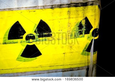 Radioactive material warning sign at the transportation paper package