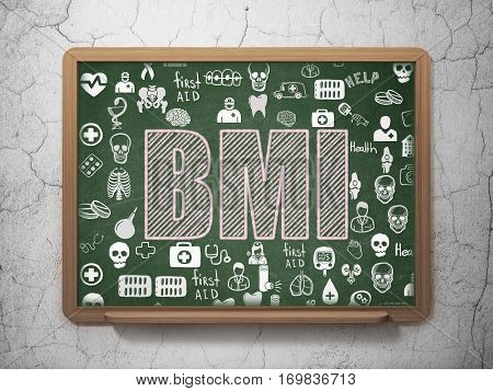 Healthcare concept: Chalk Pink text BMI on School board background with  Hand Drawn Medicine Icons, 3D Rendering