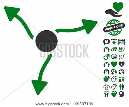 Curve Arrows pictograph with bonus dating pictograms. Vector illustration style is flat rounded iconic green and gray symbols on white background.