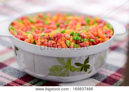 Puffed Crispy Colorful Rice In The Bowl