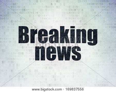 News concept: Painted black word Breaking News on Digital Data Paper background