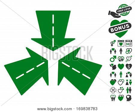 Merge Directions icon with bonus lovely pictograph collection. Vector illustration style is flat rounded iconic green and gray symbols on white background.