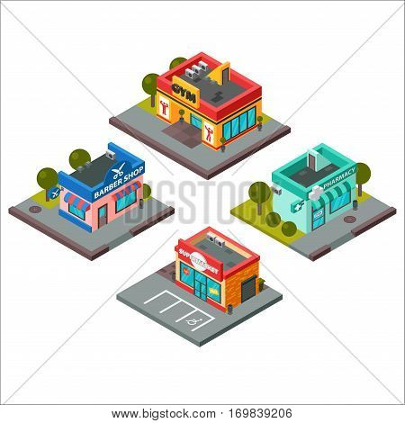 Vector isometric buildings convenience store supermarket. Warehouse, beauty salon, fitness center design. Urban business construction design.