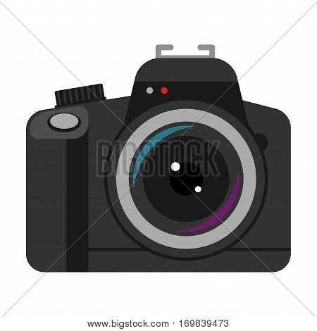 Photo camera vector reflection movie instrument on white background. Type objective equipment, professional look. Digital technology electronic aperture device.