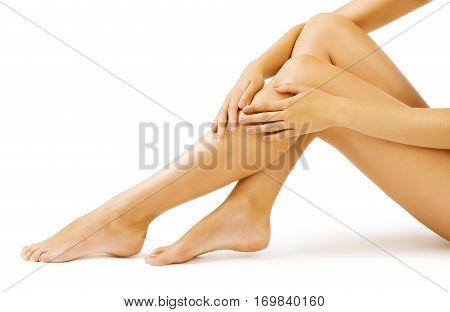 Woman Leg Skin Body Massage and Legs Skin Care white isolated