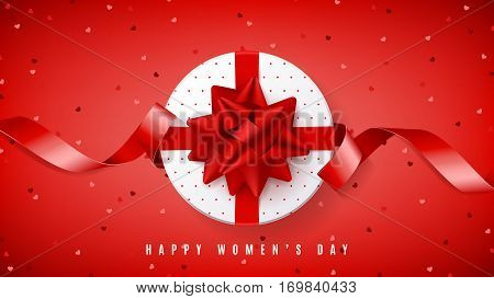 Red web banner for Happy Women's Day. Top view on white gift box with red bow. Vector illustration with confetti and satin ribbon.