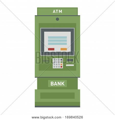 ATM payment vector illustration. Screen service transaction keypad business. Metal commerce computer shopping automated keyboard card technology.