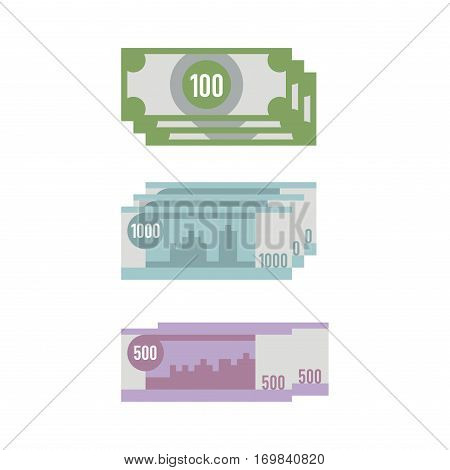 Money paper business finance concept and stack of banking edition banknotes bills isolated on white. Investment success cash.