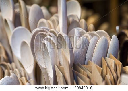 Wooden Spatulas And Spoons At Local Market