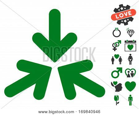 Triple Collide Arrows pictograph with bonus passion pictograms. Vector illustration style is flat rounded iconic green and gray symbols on white background.