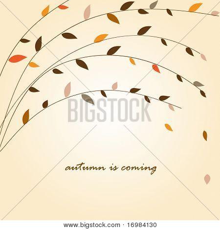 Autumn tree branch. Vector background