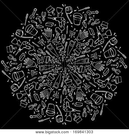 Round vignette of repair tools. Mandala house remodel. Black-and-white doodles tools hand-drawn contour on a black background