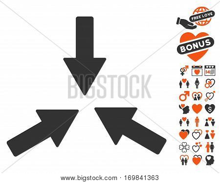 Collide 3 Arrows icon with bonus amour clip art. Vector illustration style is flat rounded iconic orange and gray symbols on white background.