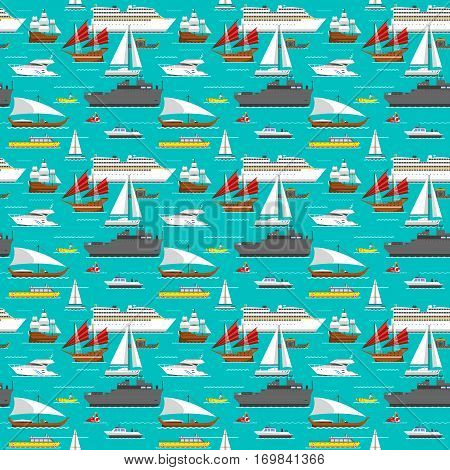 Seamless pattern with sea transport concept. Cute cartoon summer marine wallpaper water sailboat. Travel ship background. Nautical vacation yacht vessel.