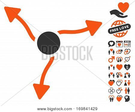 Curve Arrows icon with bonus decoration pictograms. Vector illustration style is flat rounded iconic orange and gray symbols on white background.