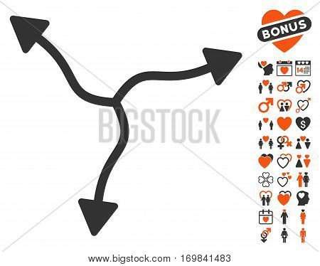 Curve Arrows pictograph with bonus lovely graphic icons. Vector illustration style is flat rounded iconic orange and gray symbols on white background.