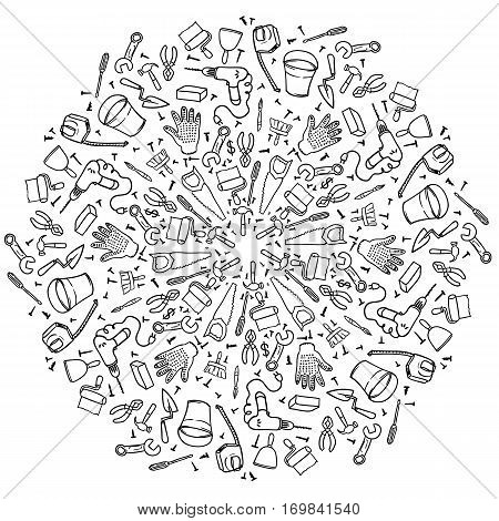 Round vignette repair tools on white background. Mandala house remodel. hand-drawn contour on a white background for children coloring. For adult anti stress coloring book.