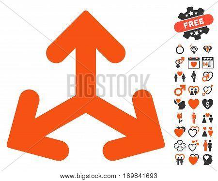 Direction Variants icon with bonus valentine design elements. Vector illustration style is flat rounded iconic orange and gray symbols on white background.