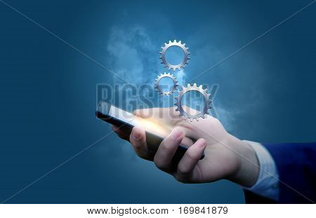 Job Of A Businessman In The Mobile Device.