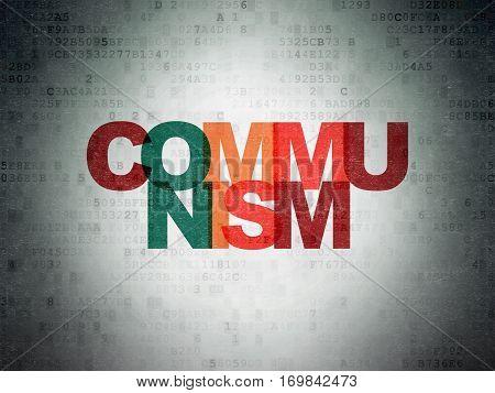 Politics concept: Painted multicolor text Communism on Digital Data Paper background