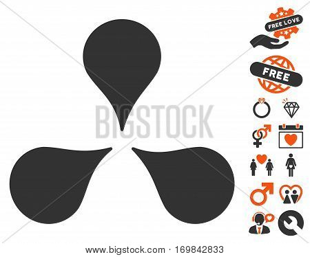Map Markers icon with bonus valentine pictures. Vector illustration style is flat rounded iconic orange and gray symbols on white background.