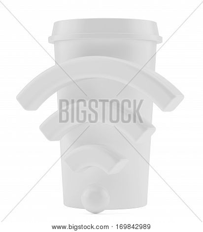 Free Wi-Fi zone. Cup with wireless signal. 3d rendering