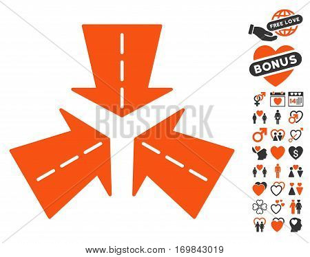 Merge Directions pictograph with bonus decoration images. Vector illustration style is flat rounded iconic orange and gray symbols on white background.