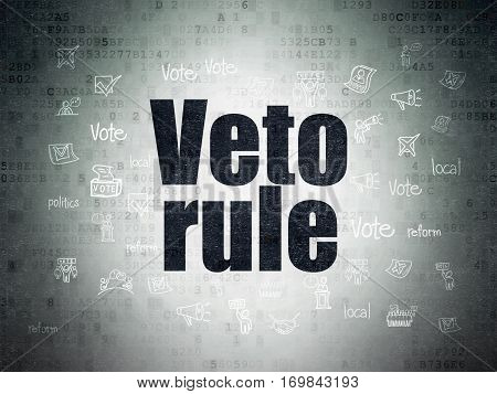 Political concept: Painted black text Veto Rule on Digital Data Paper background with  Hand Drawn Politics Icons