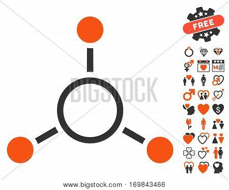 Radial Structure pictograph with bonus valentine icon set. Vector illustration style is flat rounded iconic orange and gray symbols on white background.