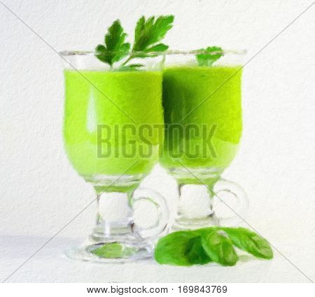 Delicious vegetable smoothie from green vegetables. Oil painting effect