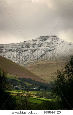 The mountains and valleys of the Welsh countryside in the Brecon Beacons district of South Wales.