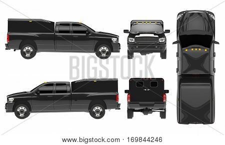 Black pickup truck template isolated car on white background. 3D