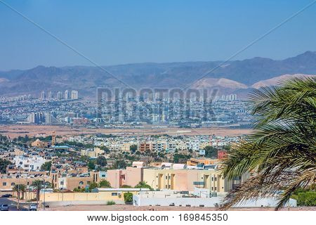 View from Jordan city Aqaba to neighbouring Eilat city in Israel