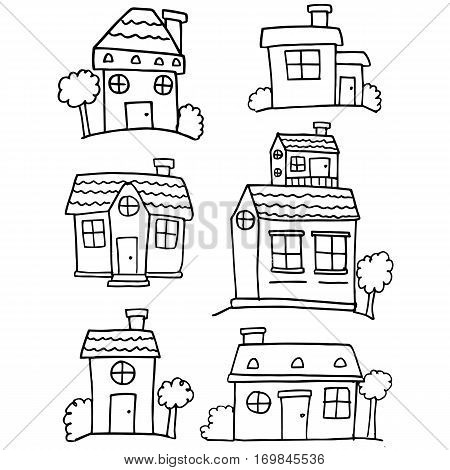 Collection stock of house various hand draw