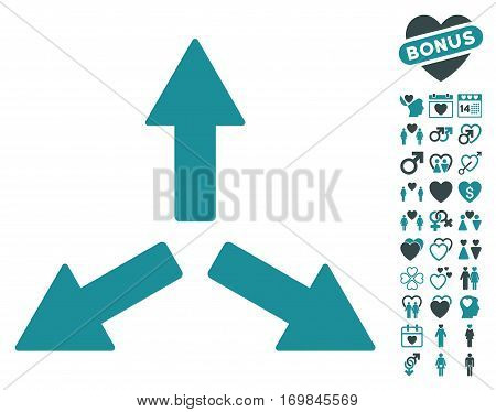 Expand Arrows icon with bonus decorative clip art. Vector illustration style is flat rounded iconic soft blue symbols on white background.