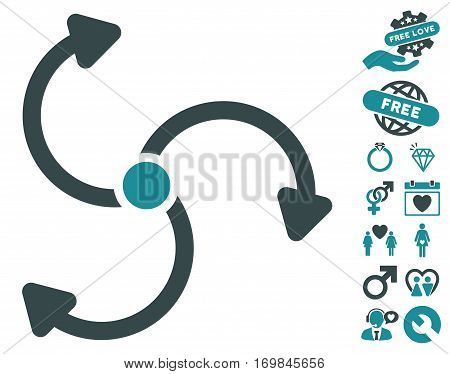 Fan Rotation icon with bonus passion images. Vector illustration style is flat rounded iconic soft blue symbols on white background.