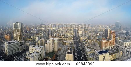 Kiev skyscrapers in winter, Velyka Vasylkivska str., aerial view