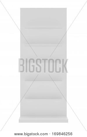White blank empty showcase displays with retail shelves front view 3D rendering.