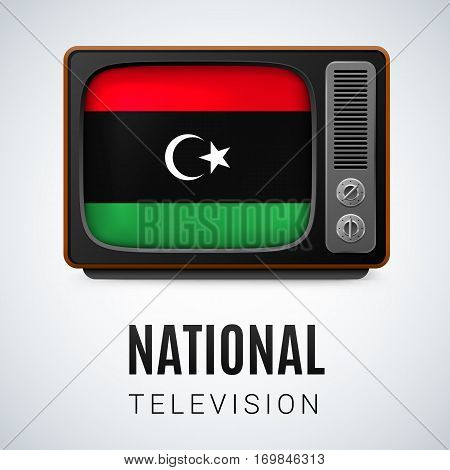 Vintage TV and Flag of Libya as Symbol National Television. Tele Receiver with Libyan flag