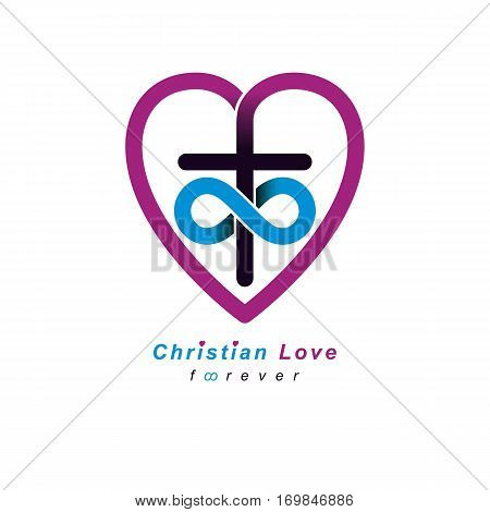 Everlasting Christian Love And True Belief In God Vector Creative Symbol Design, Combined With Infin