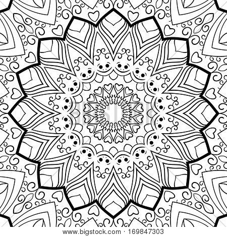 Background for coloring book Ornament with smile element Vector illustration in black and white