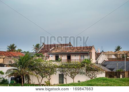 Scenic view of streets in ancient Dutch Galle Fort known as one of UNESCO World Heritage Site in Sri Lanka