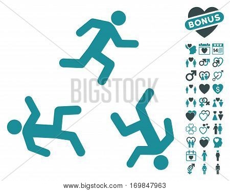 Running Men pictograph with bonus valentine design elements. Vector illustration style is flat rounded iconic soft blue symbols on white background.