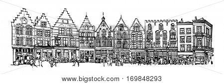 Belgium, Bruges - old brick house on the Grote Markt square - vector illustration