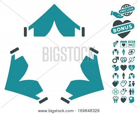 Tent Camp pictograph with bonus decorative images. Vector illustration style is flat rounded iconic soft blue symbols on white background.