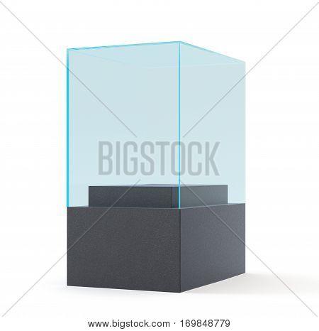 empty black showcase with pedestal. 3d illustration isolated on white background
